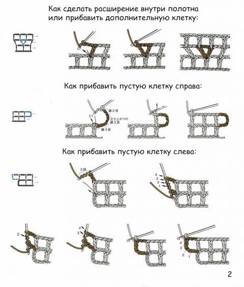 филейное вязание Как делать прибавки и убавки в полотне