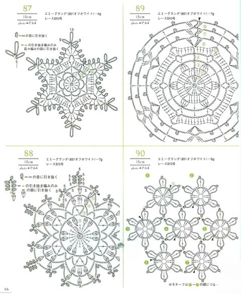 Вязаные крючком снежинки, 35 схем из японских журналов