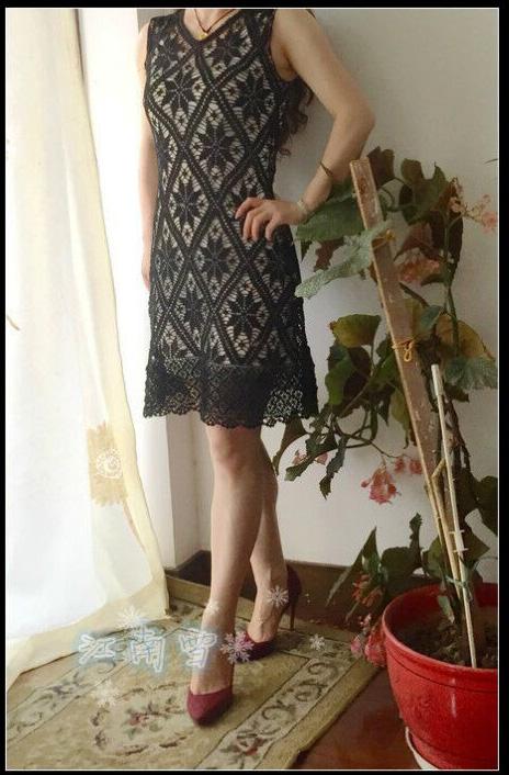 Черное платье, филейное вязание