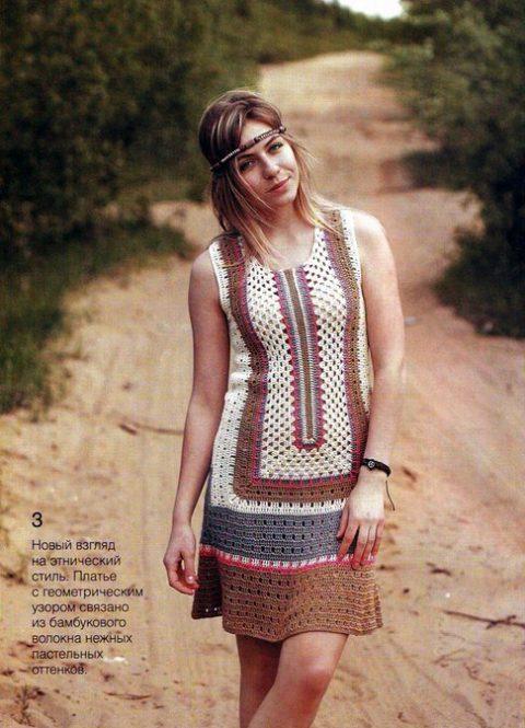 Платье Сафари,филейное вязание. Дизайн Светланы Щербаковой