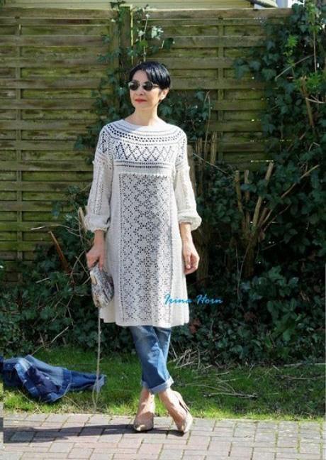 Платье в этническом стиле,филейное вязание