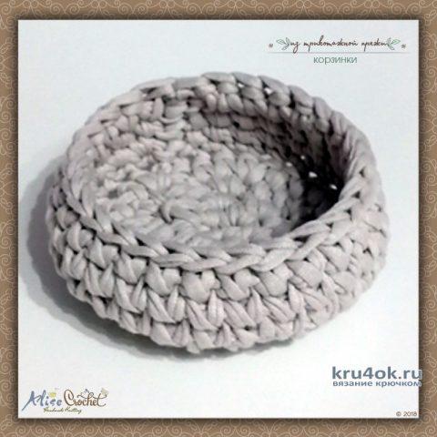 Корзинки из трикотажной пряжи. Работы Alise Crochet вязание и схемы вязания