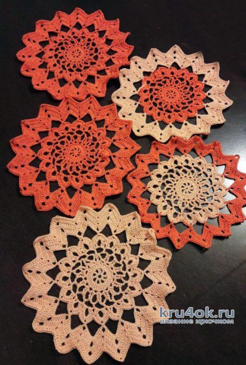 Салфетка крючком. Работа Марины Мануковской вязание и схемы вязания