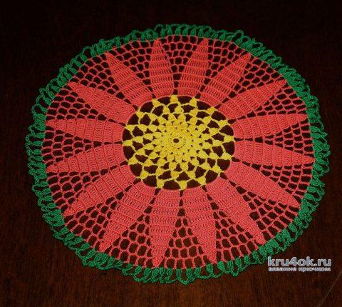 Вязаная салфеточка. Работа Екатерины вязание и схемы вязания