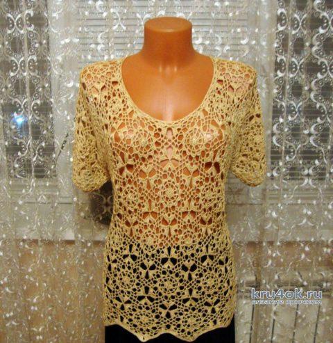 Вязанная летняя кофточка. Работа Марии Григорьевой вязание и схемы вязания