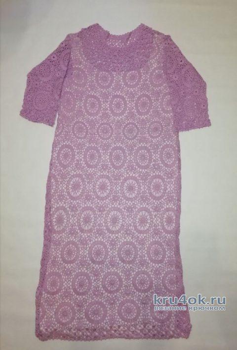 Женское платье Букет сирени. Работа Евгении Руденко вязание и схемы вязания