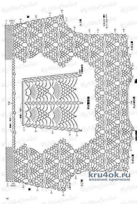 Жилет с баской Ананас. Работа Alise Crochet вязание и схемы вязания