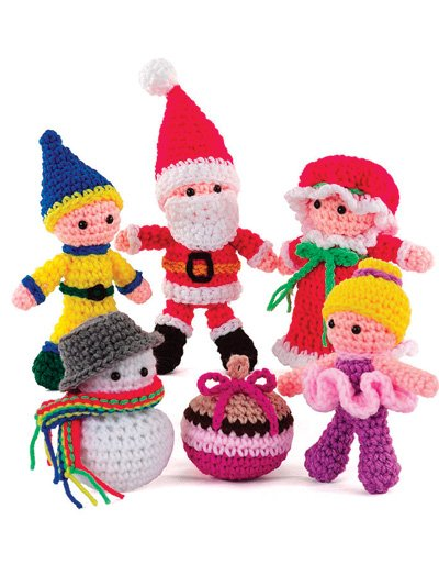 Веселая компания: дед мороз, снеговик, гномик и др. крючком