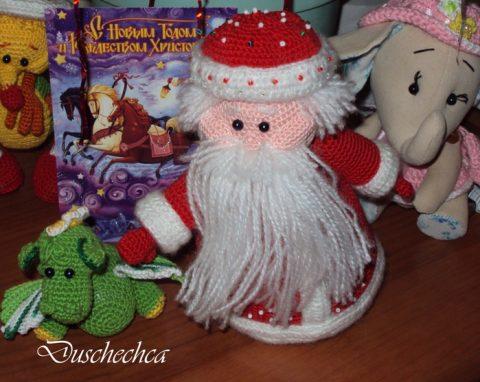 Вязаный крючком Дед Мороз, пошаговое описание