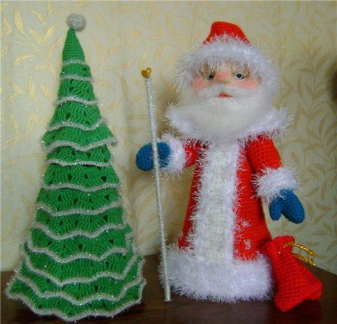 Украшение новогоднего шампанского - Дед мороз крючком