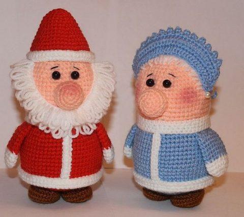 Вязаные куклы Дед Мороз и Снегурочка крючком