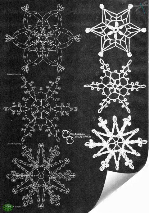 Вязаные крючком снежинки из журнала Дуплет