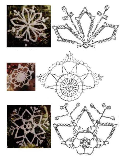 Схемы простых и сложных снежинок крючком