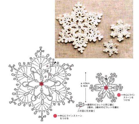 Вяжем снежинки крючком, 30 красивых схем