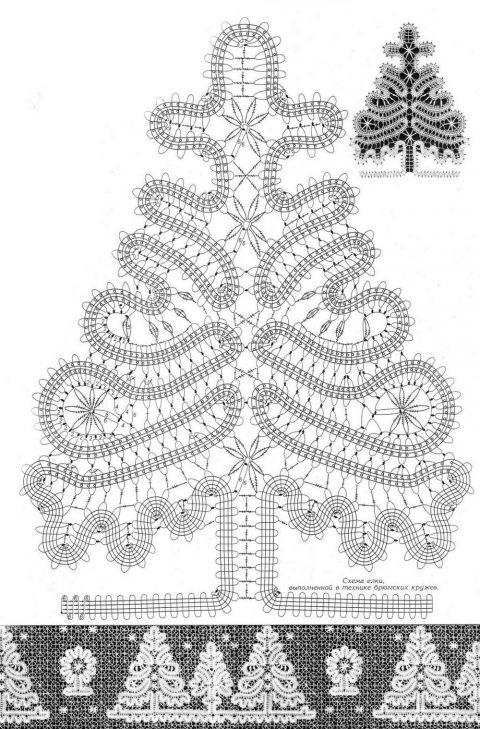 елка в технике брюггское кружево