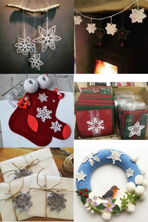 Как использовать вязаные крючком снежинки для украшения интерьера и подарков