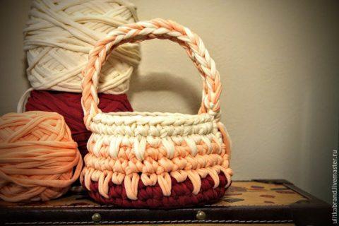 Мастер - класс по вязанию пасхальной корзинки из трикотажной пряжи