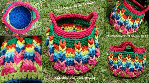 Разноцветная корзинка из трикотажной пряжи, схемы вязания