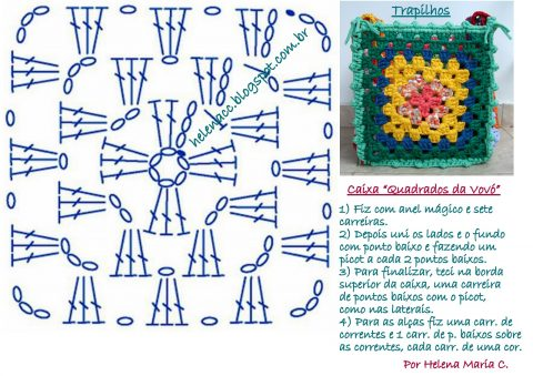 Корзинка связанная по схеме бабушкиного квадрата