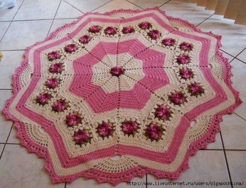 Вязание крючком круглых ковриков для дома: