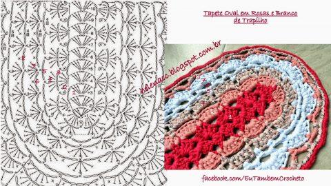 Вязание крючком овального коврика