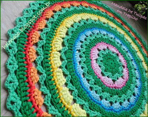 Вяжем крючком круглые коврики из трикотажной пряжи