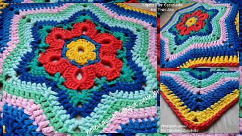 Разноцветный коврик - звезда крючком