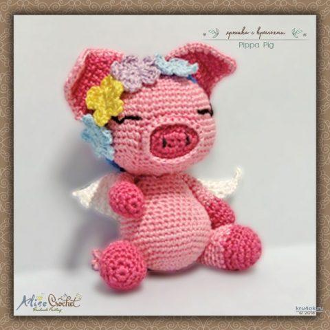 Хрюшка с крыльями Pippa Pig. Работа Alise Crochet
