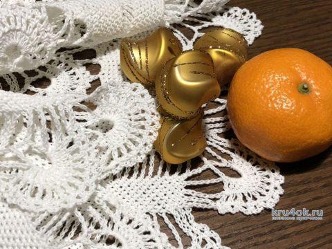 Оригинальная салфетка Зимняя вьюга крючком. Работа Надежды Борисовой вязание и схемы вязания
