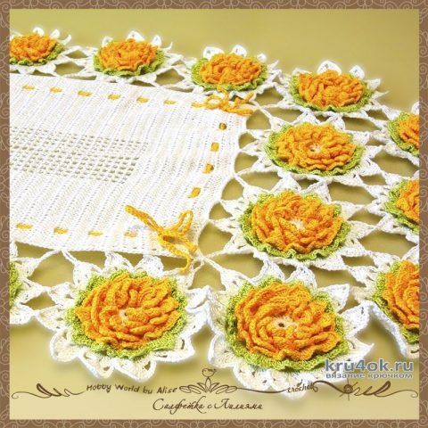 Салфетка с Лилиями связана крючком. Работа Alise Crochet вязание и схемы вязания