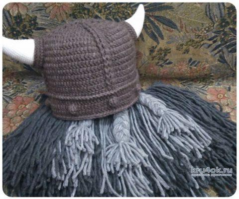 Шапка викинга крючком. Работа Ксении вязание и схемы вязания