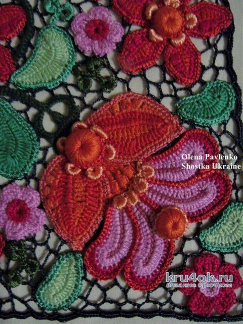 Вставка на сумку связана в технике ирландского кружева. Работа Елены Павленко вязание и схемы вязания