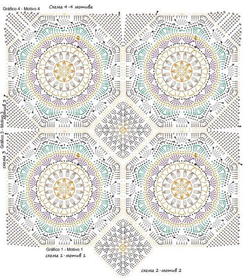 схема вязания персидского ковра крючком