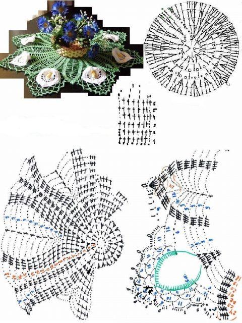 Схема вязания крючком салфетки с цветами