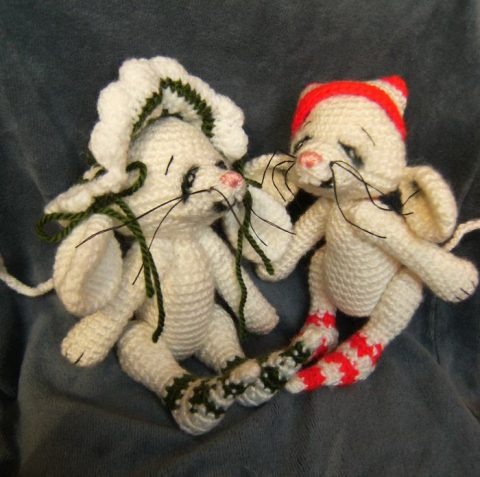 Funny knitted little mice
