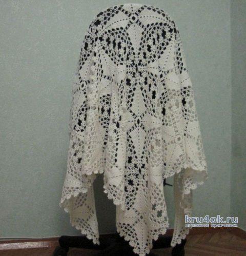 Белая вязанная крючком шаль. Работа Любови вязание и схемы вязания