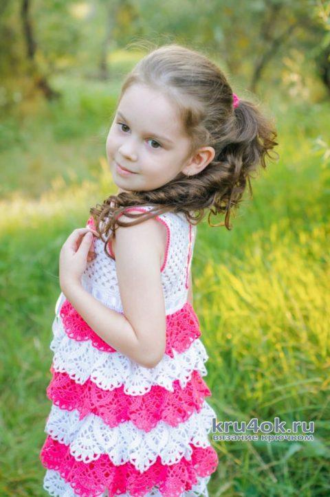 Детский сарафан крючком. Работа AlenaVerkhovod вязание и схемы вязания