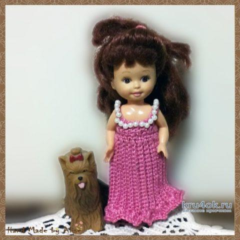 Платье для куклы Шелли Розовые розы. Работа Alise Crochet