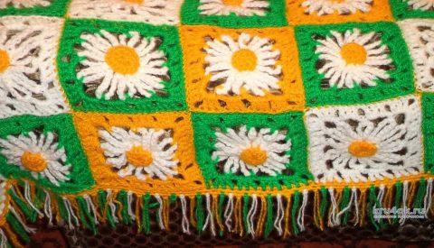 Плед Ромашковое поле крючком. Работа Анны вязание и схемы вязания