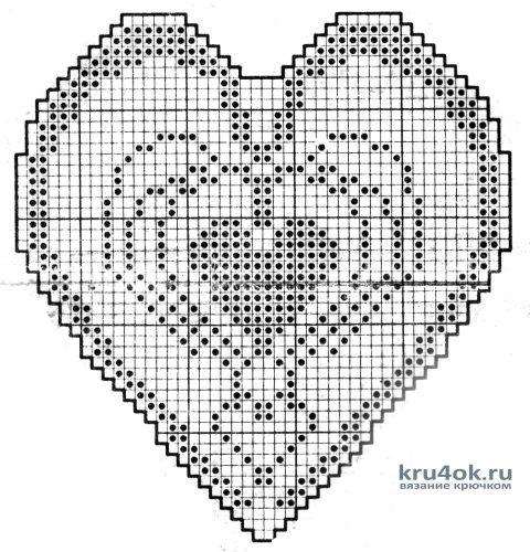 Салфетки крючком в виде сердца. Работы Виктора вязание и схемы вязания