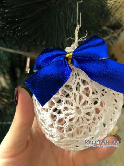 Вязанные крючком ёлочные шары. Работы Аллы вязание и схемы вязания