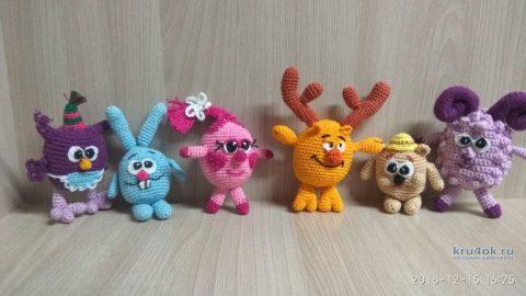 Вязаные игрушки Смешарики крючком. Работа Регины вязание и схемы вязания