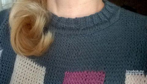 Женский джемпер с квадратами. Работа Елены Шевчук вязание и схемы вязания