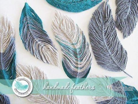 Как сделать перья из пряжи. Работа Myrka_FM вязание и схемы вязания