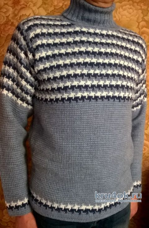 Мужской свитер в тунисской технике. Работа Елены Шевчук