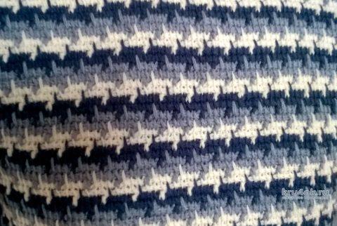 Мужской свитер в тунисской технике. Работа Елены Шевчук вязание и схемы вязания