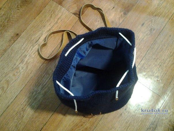 1c99e79987f9 Рюкзак крючком с кожаными вставками. Работа Аксиньи Григ вязание и схемы  вязания. Рюкзак крючком с кожаными вставками.