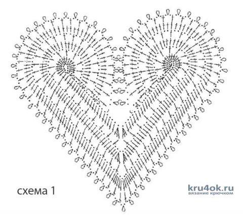 Салфетка Два сердечка. Работа Натальи Енник вязание и схемы вязания