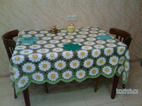Скатерть Ромашковое поле. Работа Ирины Георгиевны вязание и схемы вязания
