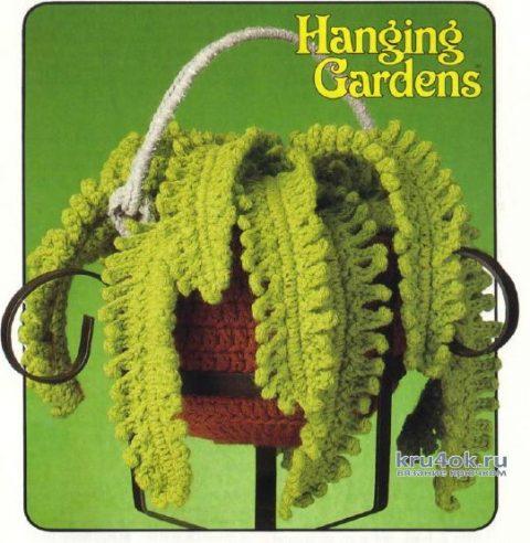 Вязанный крючком горшочек с цветами. Работа Анны вязание и схемы вязания